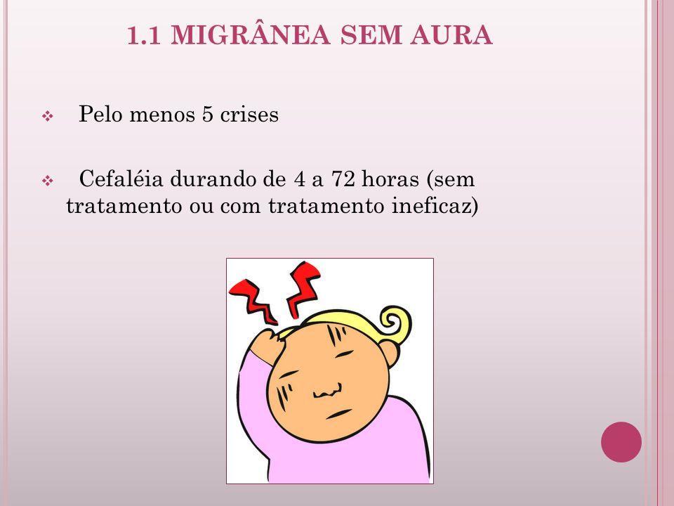 1.1 MIGRÂNEA SEM AURA Pelo menos 5 crises Cefaléia durando de 4 a 72 horas (sem tratamento ou com tratamento ineficaz)