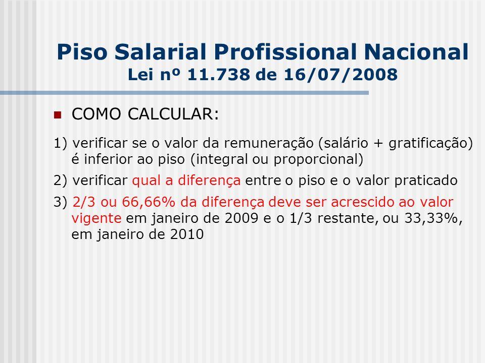 Piso Salarial Profissional Nacional Lei nº 11.738 de 16/07/2008 COMO CALCULAR: 1) verificar se o valor da remuneração (salário + gratificação) é inferior ao piso (integral ou proporcional) 2) verificar qual a diferença entre o piso e o valor praticado 3) 2/3 ou 66,66% da diferença deve ser acrescido ao valor vigente em janeiro de 2009 e o 1/3 restante, ou 33,33%, em janeiro de 2010