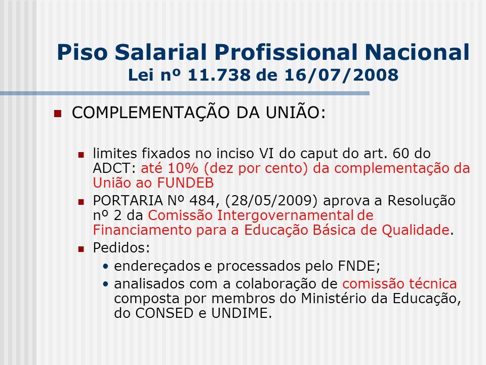 Piso Salarial Profissional Nacional Lei nº 11.738 de 16/07/2008 COMPLEMENTAÇÃO DA UNIÃO: limites fixados no inciso VI do caput do art.