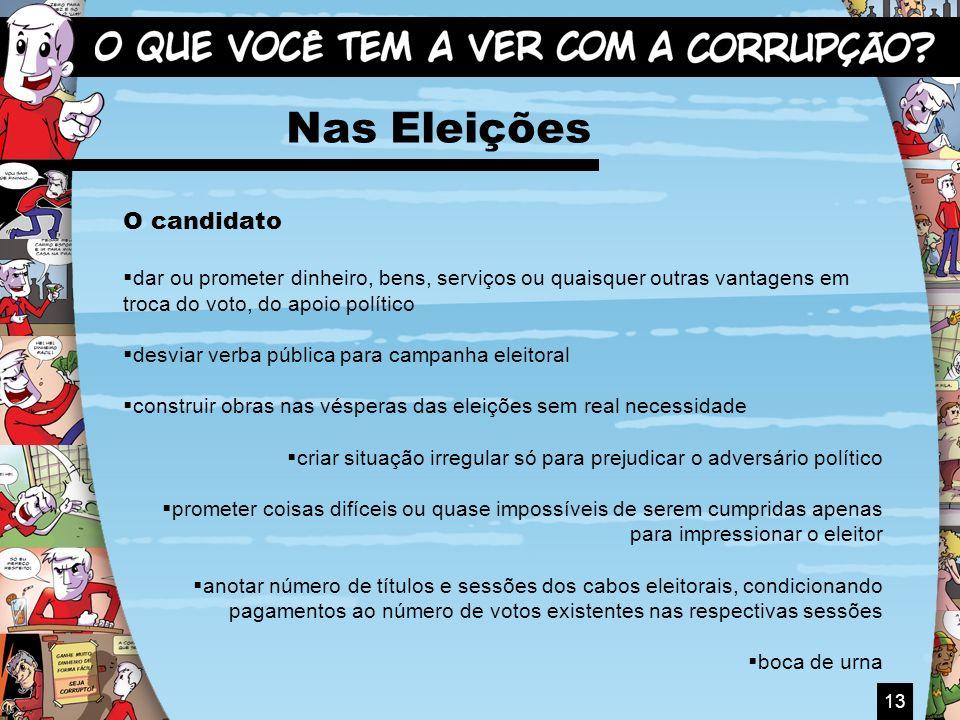 13 Nas Eleições O candidato dar ou prometer dinheiro, bens, serviços ou quaisquer outras vantagens em troca do voto, do apoio político desviar verba p