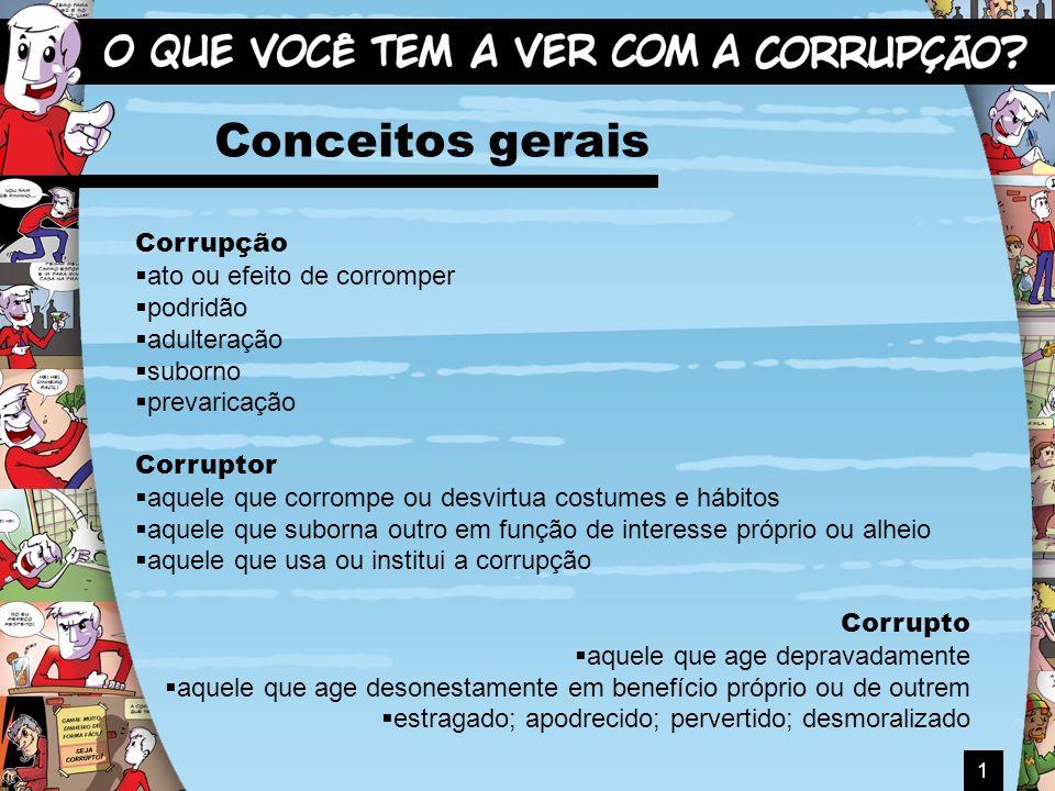 1 Conceitos gerais Corrupção ato ou efeito de corromper podridão adulteração suborno prevaricação Corruptor aquele que corrompe ou desvirtua costumes