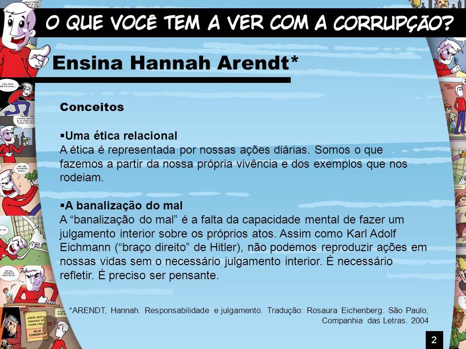 2 Ensina Hannah Arendt* Conceitos Uma ética relacional A ética é representada por nossas ações diárias. Somos o que fazemos a partir da nossa própria