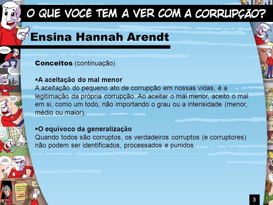 3 Ensina Hannah Arendt Conceitos (continuação) A aceitação do mal menor A aceitação do pequeno ato de corrupção em nossas vidas, é a legitimação da pr