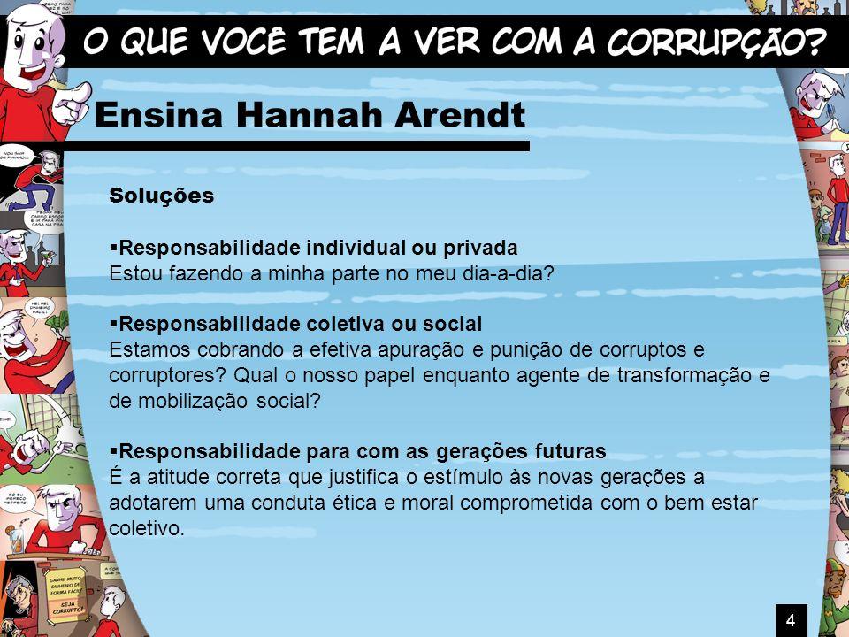 4 Ensina Hannah Arendt Soluções Responsabilidade individual ou privada Estou fazendo a minha parte no meu dia-a-dia? Responsabilidade coletiva ou soci