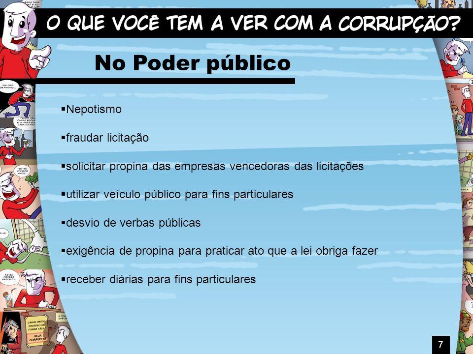 7 No Poder público Nepotismo fraudar licitação solicitar propina das empresas vencedoras das licitações utilizar veículo público para fins particulare