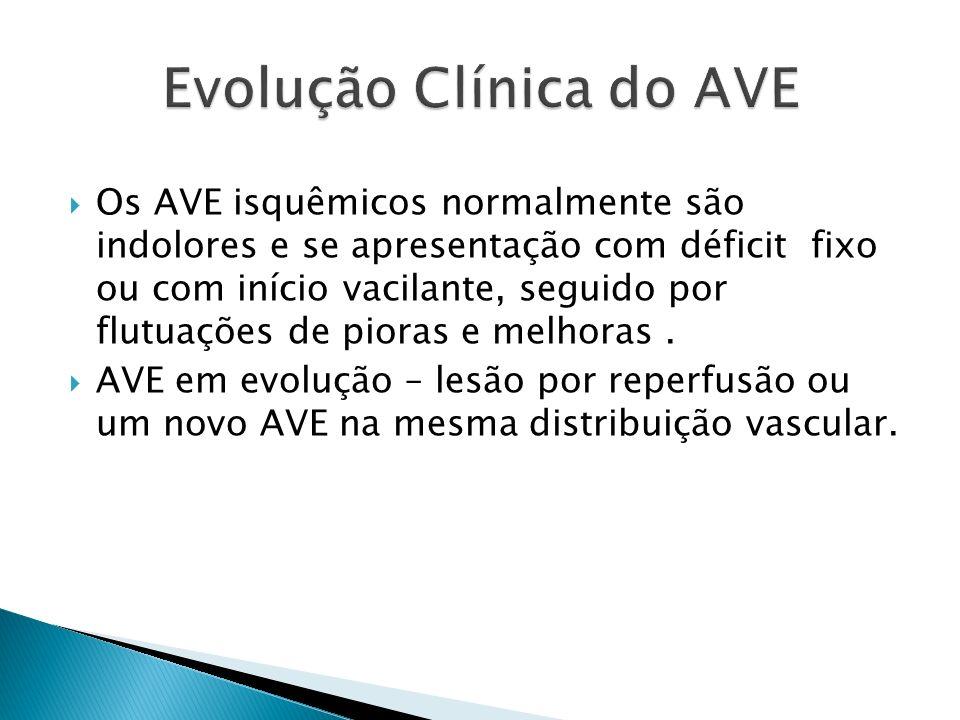 Os AVE isquêmicos normalmente são indolores e se apresentação com déficit fixo ou com início vacilante, seguido por flutuações de pioras e melhoras. A