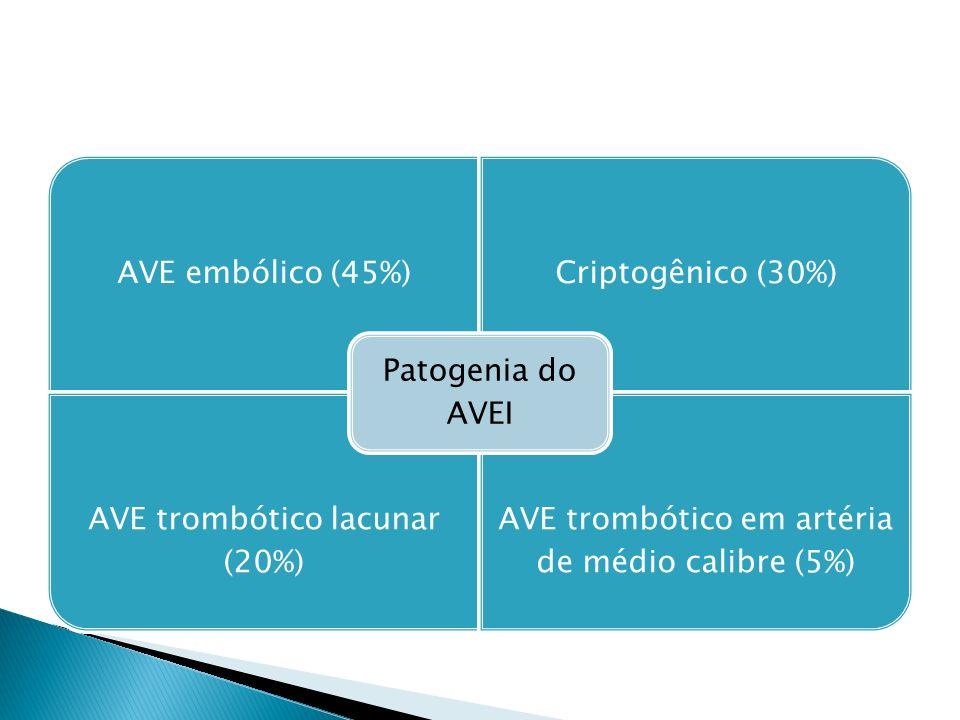 AVE embólico (45%)Criptogênico (30%) AVE trombótico lacunar (20%) AVE trombótico em artéria de médio calibre (5%) Patogenia do AVEI