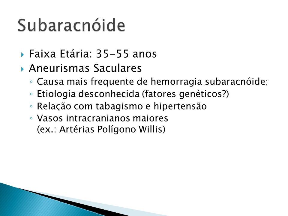Faixa Etária: 35-55 anos Aneurismas Saculares Causa mais frequente de hemorragia subaracnóide; Etiologia desconhecida (fatores genéticos?) Relação com