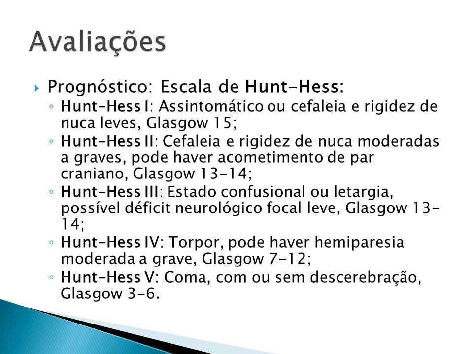 Prognóstico: Escala de Hunt-Hess: Hunt-Hess I: Assintomático ou cefaleia e rigidez de nuca leves, Glasgow 15; Hunt-Hess II: Cefaleia e rigidez de nuca