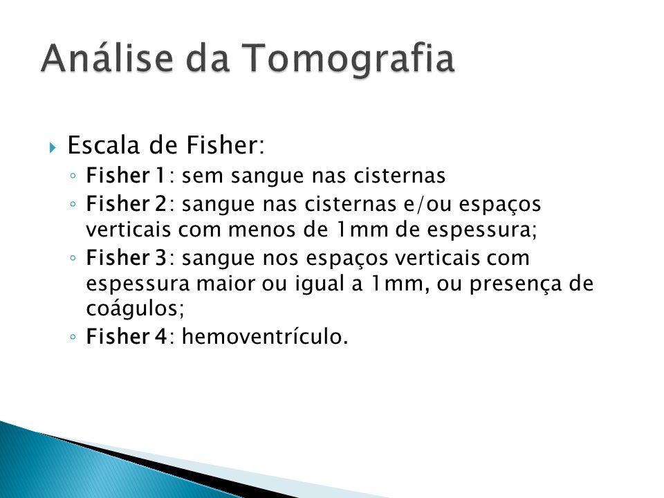 Escala de Fisher: Fisher 1: sem sangue nas cisternas Fisher 2: sangue nas cisternas e/ou espaços verticais com menos de 1mm de espessura; Fisher 3: sa