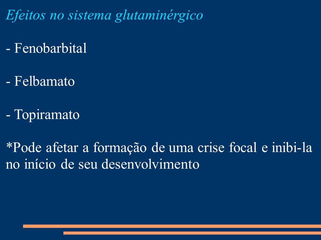 Efeitos no sistema glutaminérgico - Fenobarbital - Felbamato - Topiramato *Pode afetar a formação de uma crise focal e inibi-la no início de seu desen