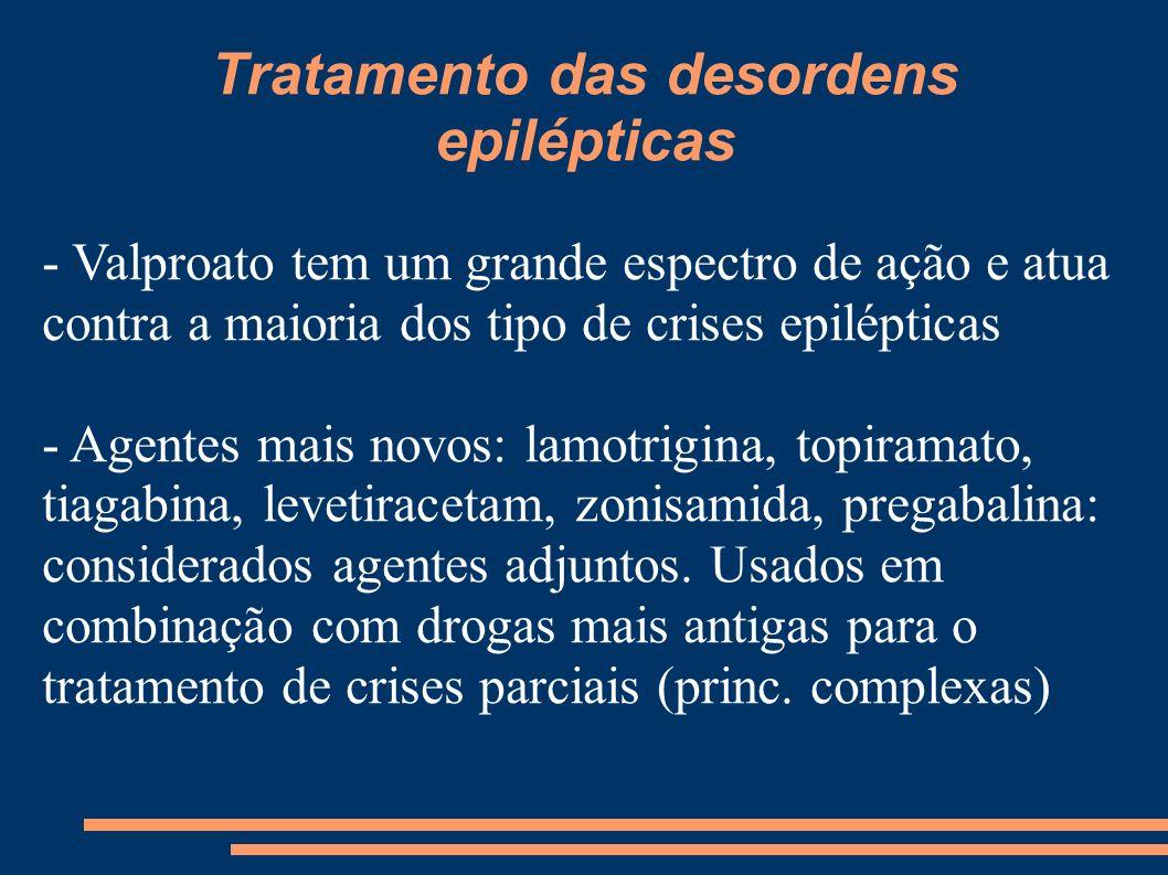 Tratamento das desordens epilépticas - Valproato tem um grande espectro de ação e atua contra a maioria dos tipo de crises epilépticas - Agentes mais