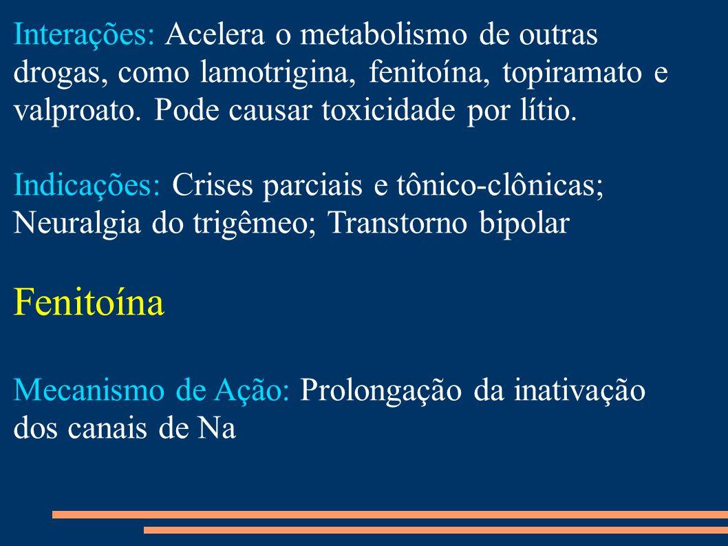 Interações: Acelera o metabolismo de outras drogas, como lamotrigina, fenitoína, topiramato e valproato. Pode causar toxicidade por lítio. Indicações: