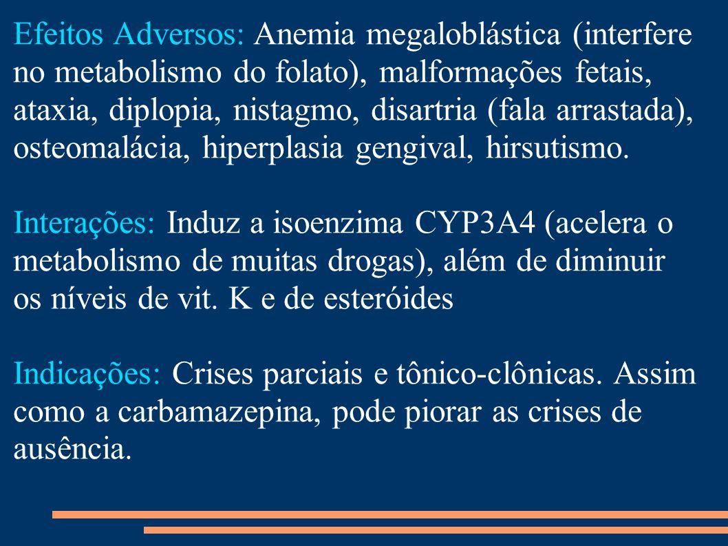 Efeitos Adversos: Anemia megaloblástica (interfere no metabolismo do folato), malformações fetais, ataxia, diplopia, nistagmo, disartria (fala arrasta