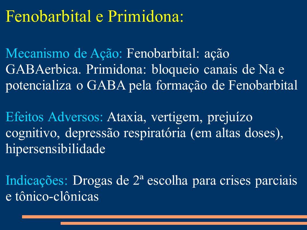 Fenobarbital e Primidona: Mecanismo de Ação: Fenobarbital: ação GABAerbica. Primidona: bloqueio canais de Na e potencializa o GABA pela formação de Fe