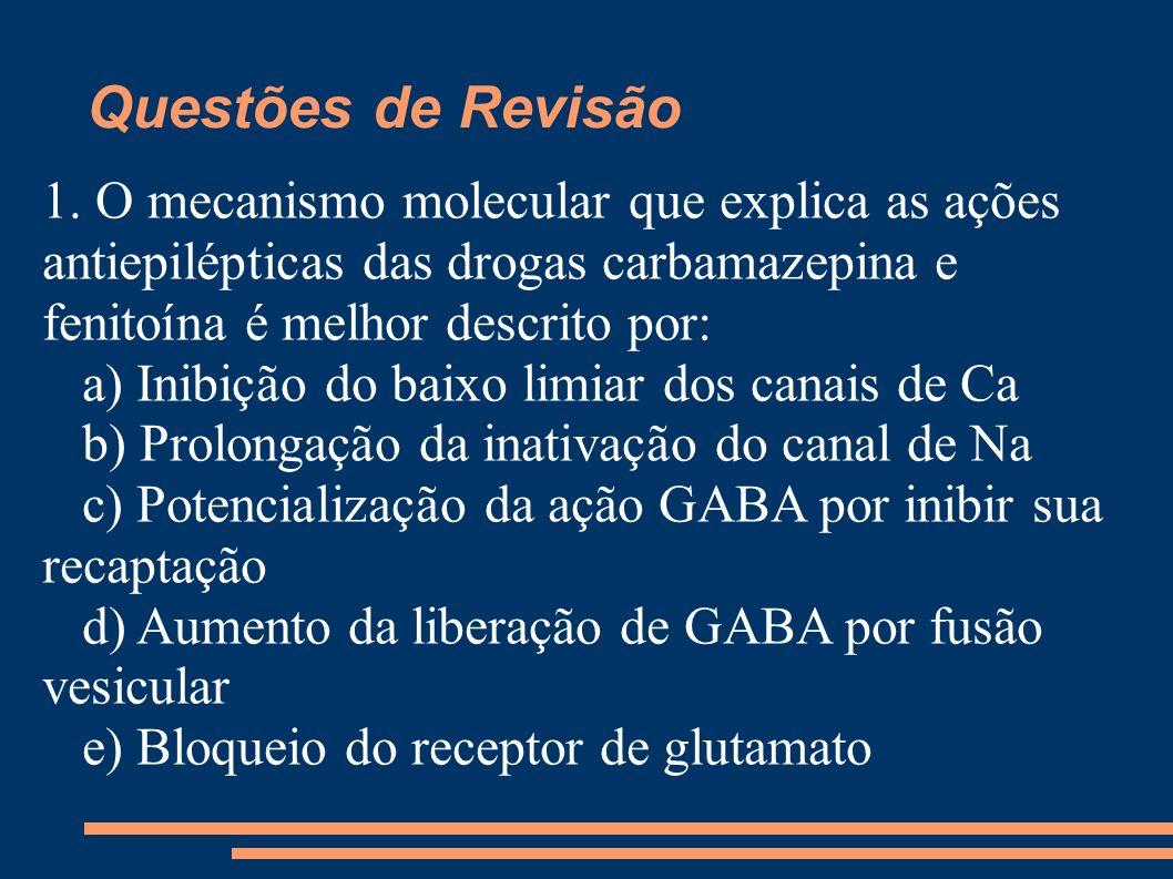Questões de Revisão 1. O mecanismo molecular que explica as ações antiepilépticas das drogas carbamazepina e fenitoína é melhor descrito por: a) Inibi