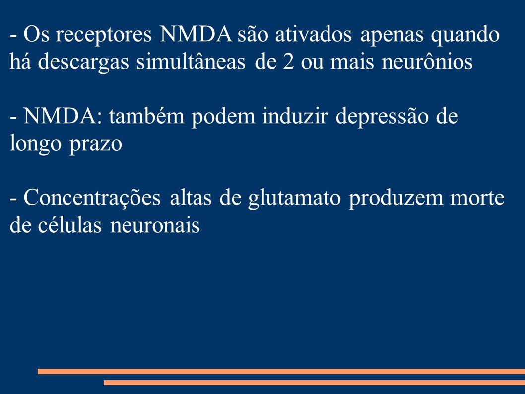 - Os receptores NMDA são ativados apenas quando há descargas simultâneas de 2 ou mais neurônios - NMDA: também podem induzir depressão de longo prazo