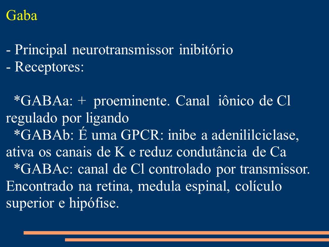 Gaba - Principal neurotransmissor inibitório - Receptores: *GABAa: + proeminente. Canal iônico de Cl regulado por ligando *GABAb: É uma GPCR: inibe a