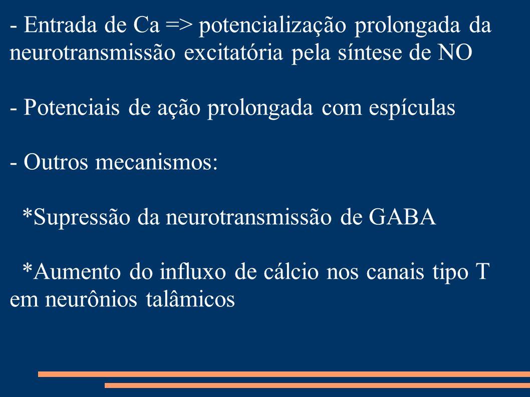 - Entrada de Ca => potencialização prolongada da neurotransmissão excitatória pela síntese de NO - Potenciais de ação prolongada com espículas - Outro