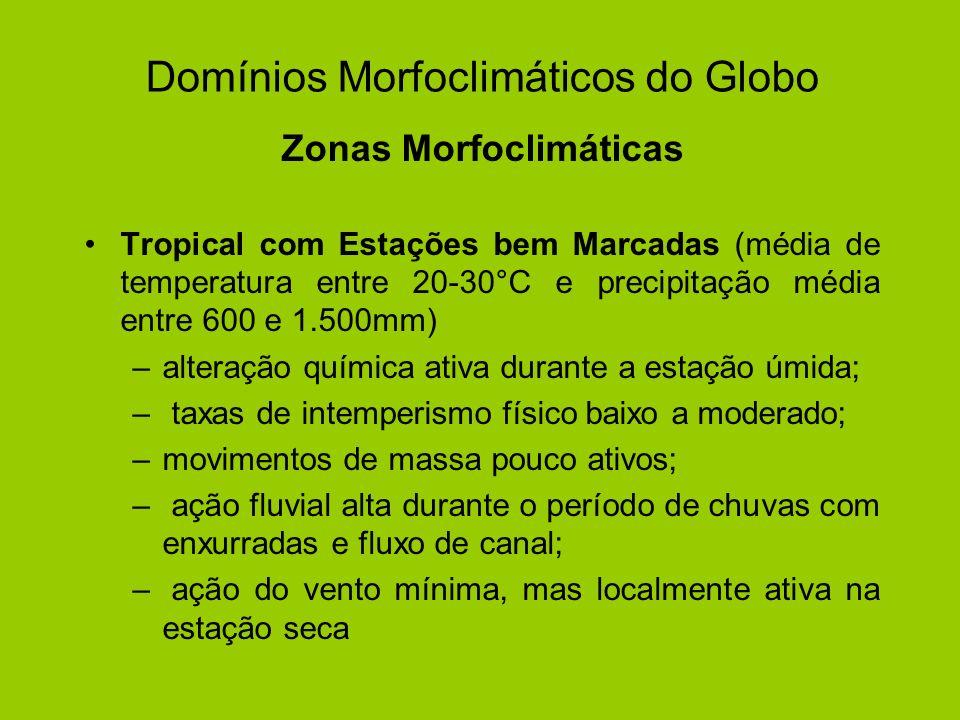 Zonas Morfoclimáticas Tropical com Estações bem Marcadas (média de temperatura entre 20-30°C e precipitação média entre 600 e 1.500mm) –alteração quím