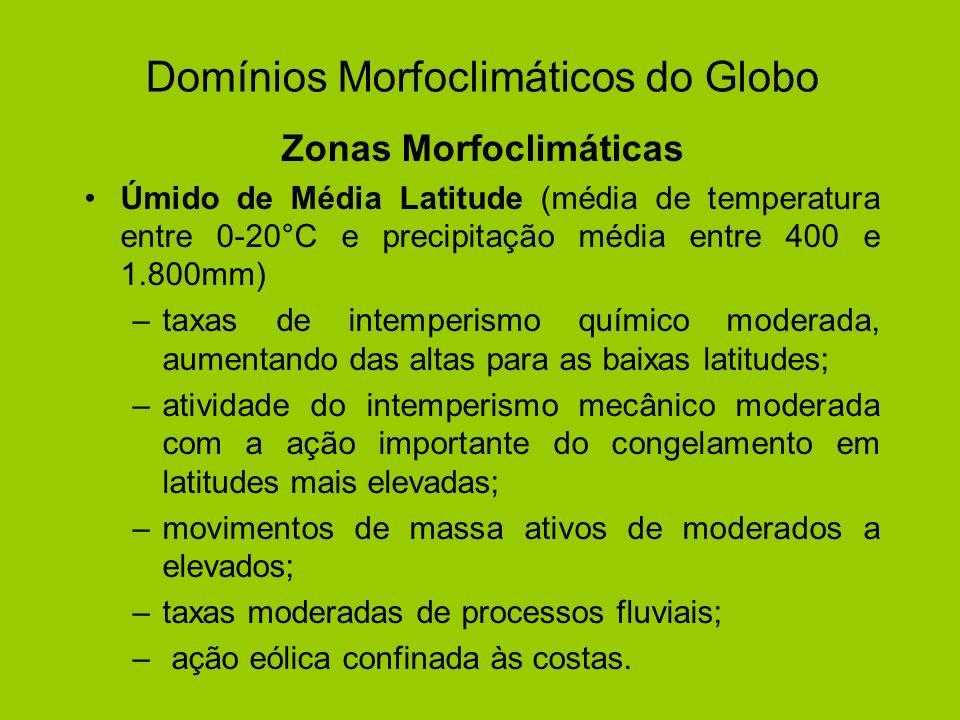 Domínios Morfoclimáticos do Globo Zonas Morfoclimáticas Úmido de Média Latitude (média de temperatura entre 0-20°C e precipitação média entre 400 e 1.