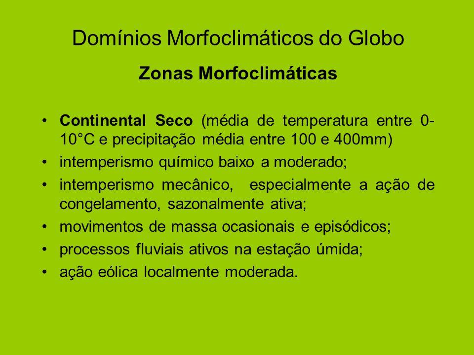 Domínios Morfoclimáticos do Globo Zonas Morfoclimáticas Continental Seco (média de temperatura entre 0- 10°C e precipitação média entre 100 e 400mm) i