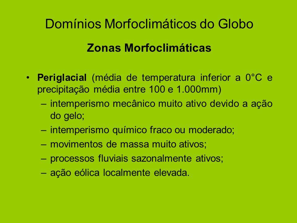 Domínios Morfoclimáticos do Globo Zonas Morfoclimáticas Periglacial (média de temperatura inferior a 0°C e precipitação média entre 100 e 1.000mm) –in