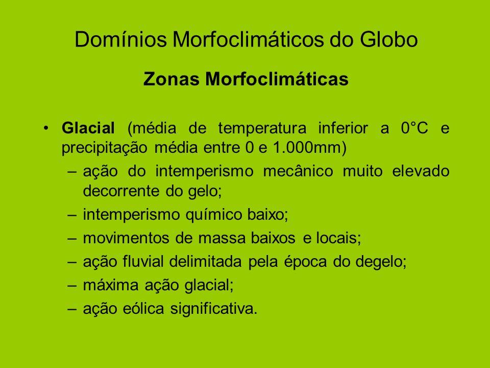 Domínios Morfoclimáticos do Globo Zonas Morfoclimáticas Glacial (média de temperatura inferior a 0°C e precipitação média entre 0 e 1.000mm) –ação do