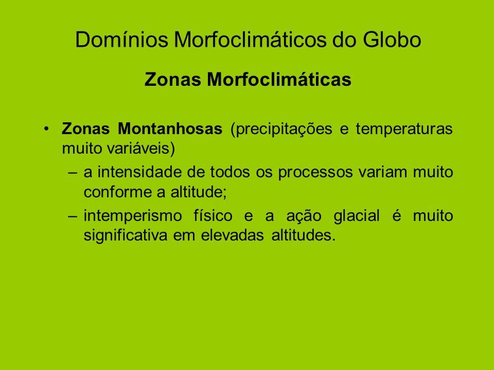 Domínios Morfoclimáticos do Globo Zonas Morfoclimáticas Zonas Montanhosas (precipitações e temperaturas muito variáveis) –a intensidade de todos os pr