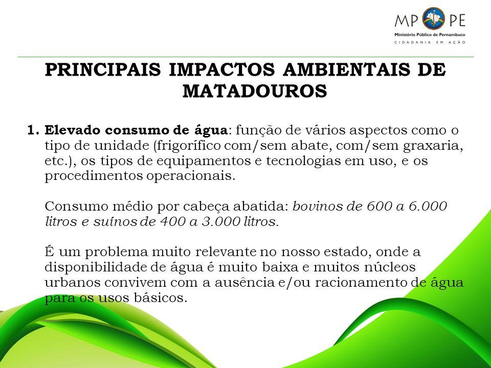 PRINCIPAIS IMPACTOS AMBIENTAIS DE MATADOUROS 1. Elevado consumo de água : função de vários aspectos como o tipo de unidade (frigorífico com/sem abate,