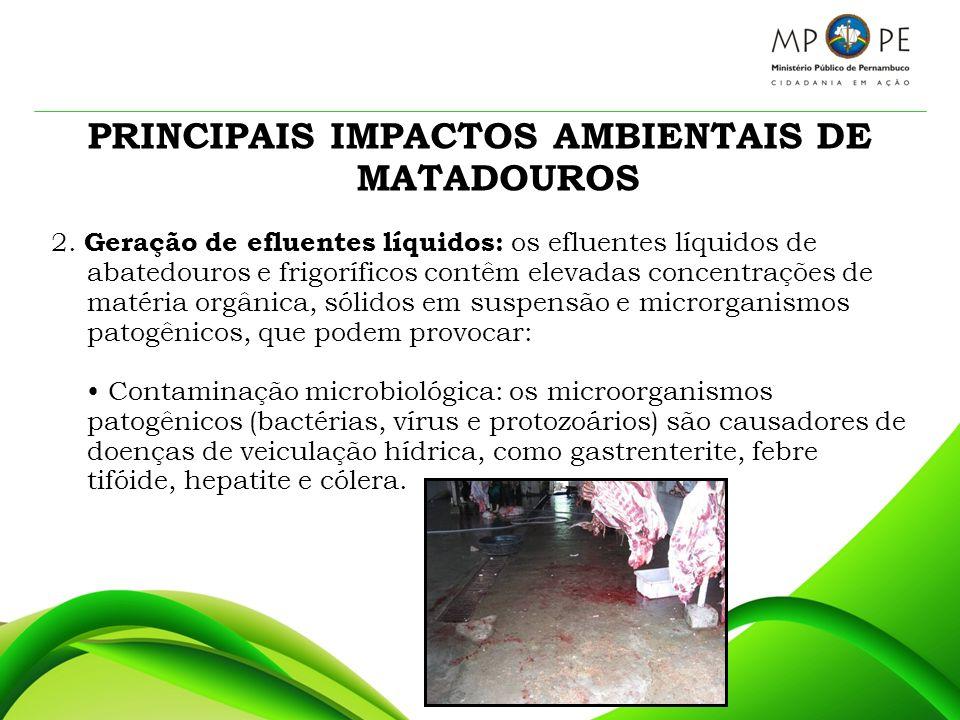 PRINCIPAIS IMPACTOS AMBIENTAIS DE MATADOUROS Alteração da qualidade da água dos mananciais, trazendo problemas para o abastecimento público, mortandade de peixes e restrição para usos da água em indústria e na agropecuária.