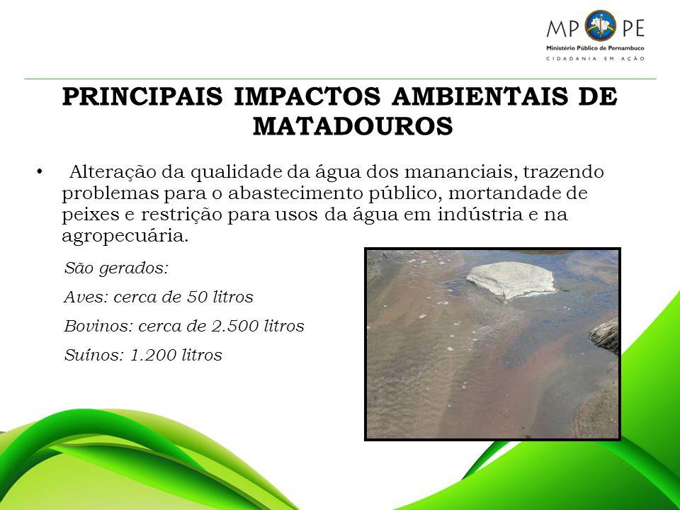 PRINCIPAIS IMPACTOS AMBIENTAIS DE MATADOUROS Alteração da qualidade da água dos mananciais, trazendo problemas para o abastecimento público, mortandad