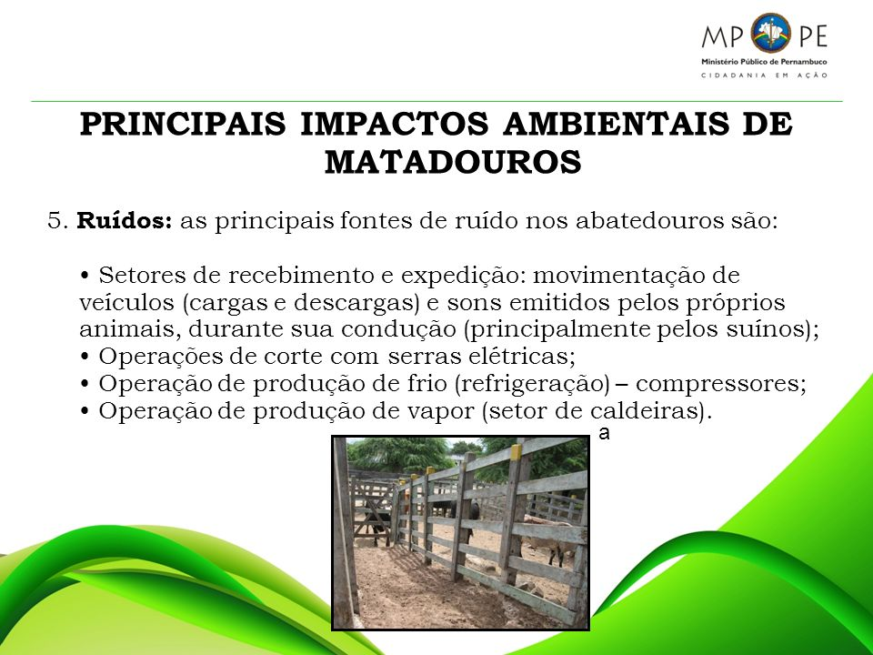 PRINCIPAIS IMPACTOS AMBIENTAIS DE MATADOUROS 5. Ruídos: as principais fontes de ruído nos abatedouros são: Setores de recebimento e expedição: movimen