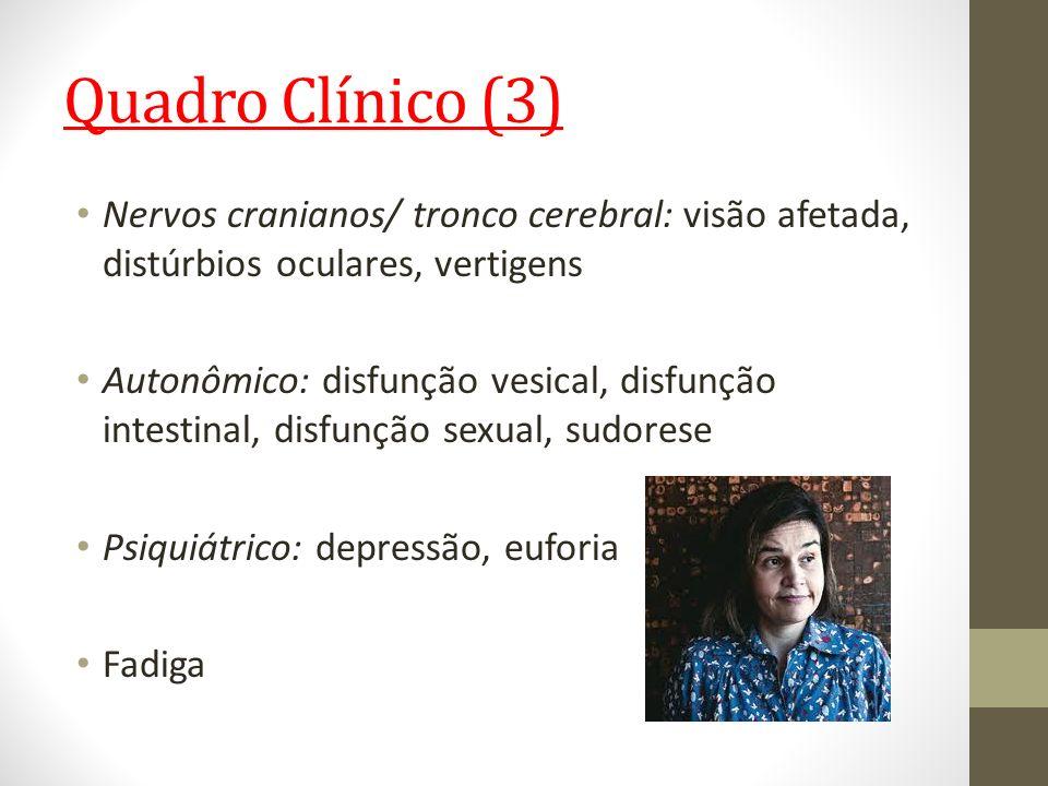 Quadro Clínico (3) Nervos cranianos/ tronco cerebral: visão afetada, distúrbios oculares, vertigens Autonômico: disfunção vesical, disfunção intestina