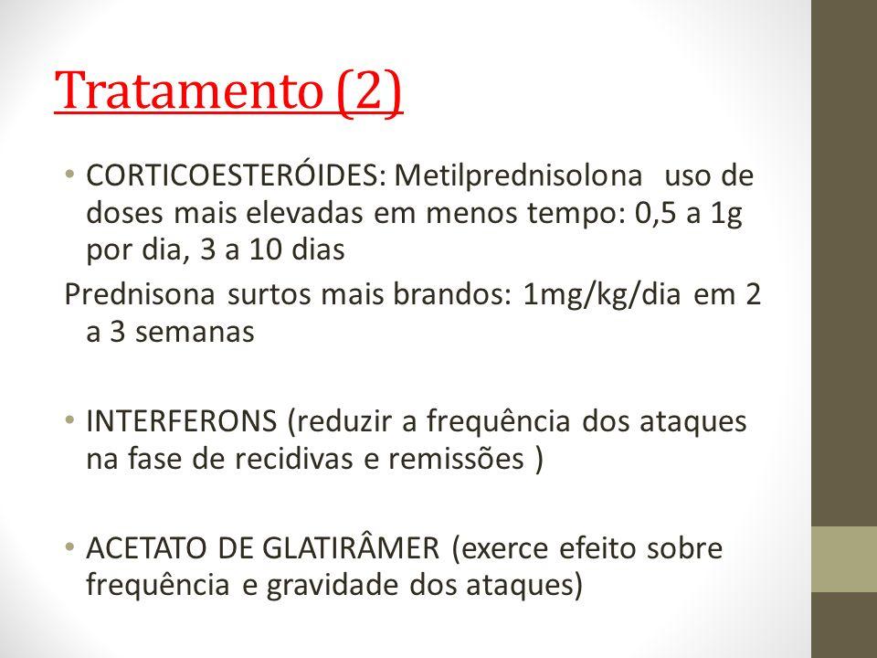 Tratamento (2) CORTICOESTERÓIDES: Metilprednisolona uso de doses mais elevadas em menos tempo: 0,5 a 1g por dia, 3 a 10 dias Prednisona surtos mais br