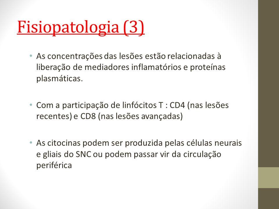 Fisiopatologia (3) As concentrações das lesões estão relacionadas à liberação de mediadores inflamatórios e proteínas plasmáticas. Com a participação