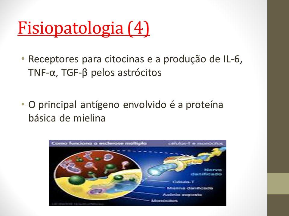 Fisiopatologia (4) Receptores para citocinas e a produção de IL-6, TNF-α, TGF-β pelos astrócitos O principal antígeno envolvido é a proteína básica de