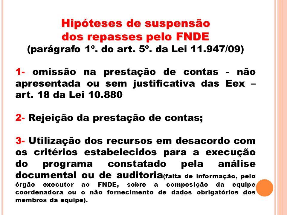 Hipóteses de suspensão dos repasses pelo FNDE (parágrafo 1º. do art. 5º. da Lei 11.947/09) 1- omissão na prestação de contas - não apresentada ou sem