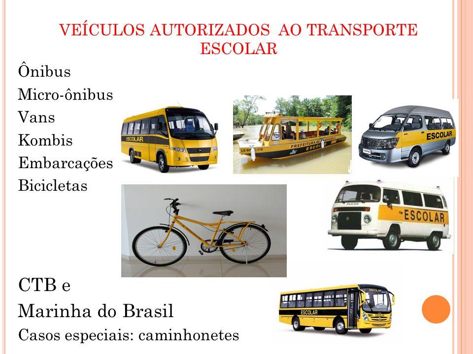 VEÍCULOS AUTORIZADOS AO TRANSPORTE ESCOLAR Ônibus Micro-ônibus Vans Kombis Embarcações Bicicletas CTB e Marinha do Brasil Casos especiais: caminhonete