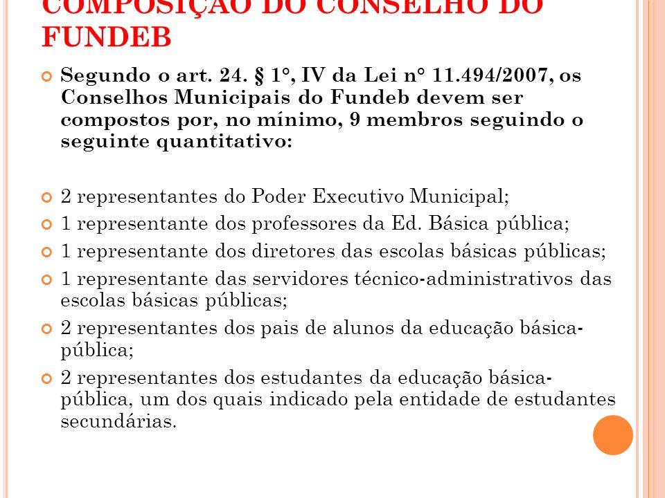 COMPOSIÇÃO DO CONSELHO DO FUNDEB Segundo o art. 24. § 1°, IV da Lei n° 11.494/2007, os Conselhos Municipais do Fundeb devem ser compostos por, no míni
