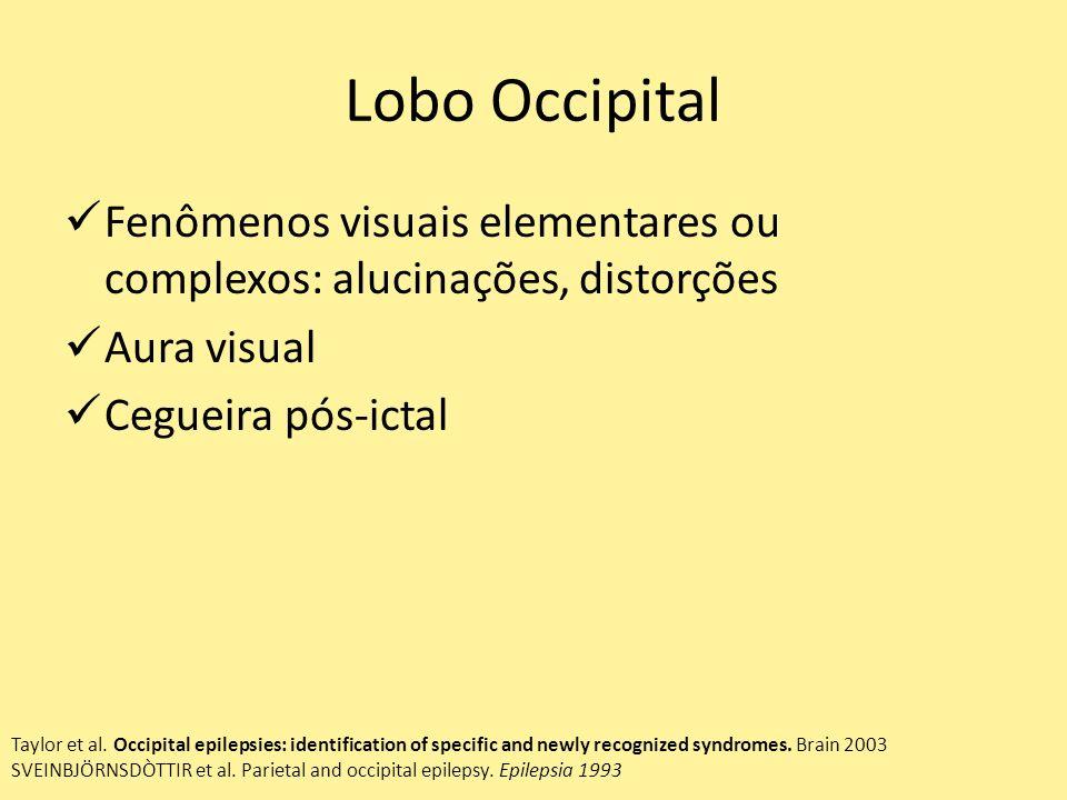 Lobo Occipital Fenômenos visuais elementares ou complexos: alucinações, distorções Aura visual Cegueira pós-ictal Taylor et al.