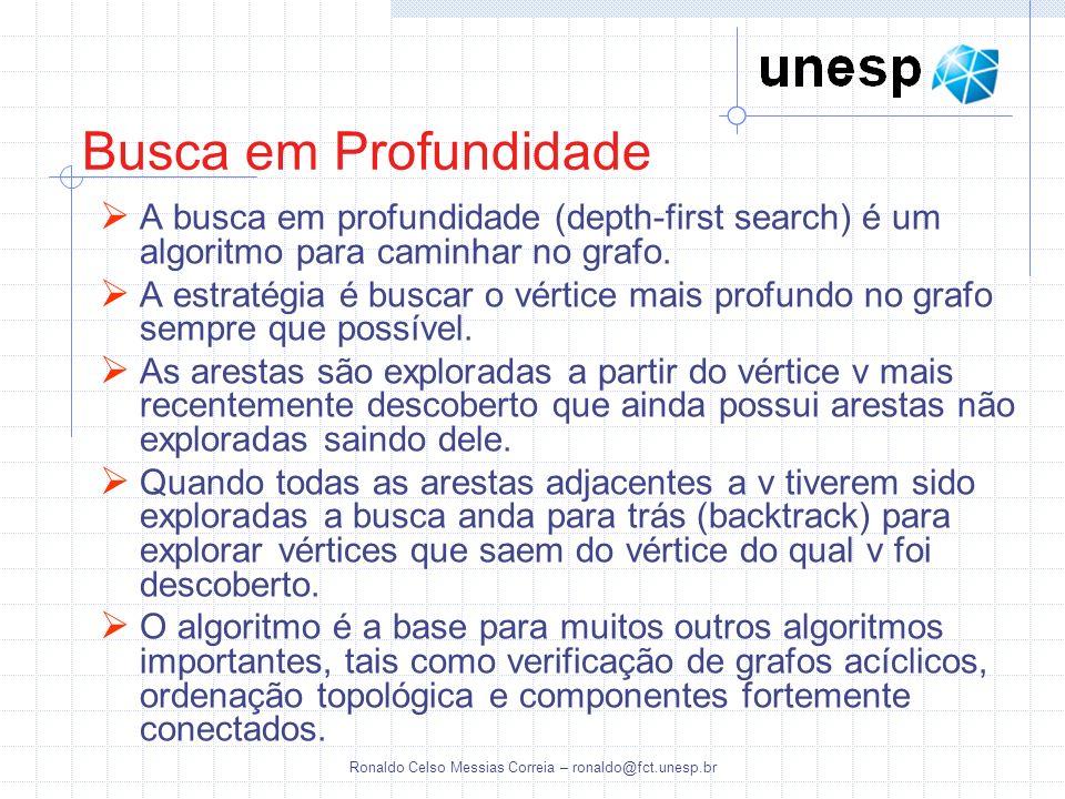 Ronaldo Celso Messias Correia – ronaldo@fct.unesp.br Busca em Profundidade A busca em profundidade (depth-first search) é um algoritmo para caminhar n