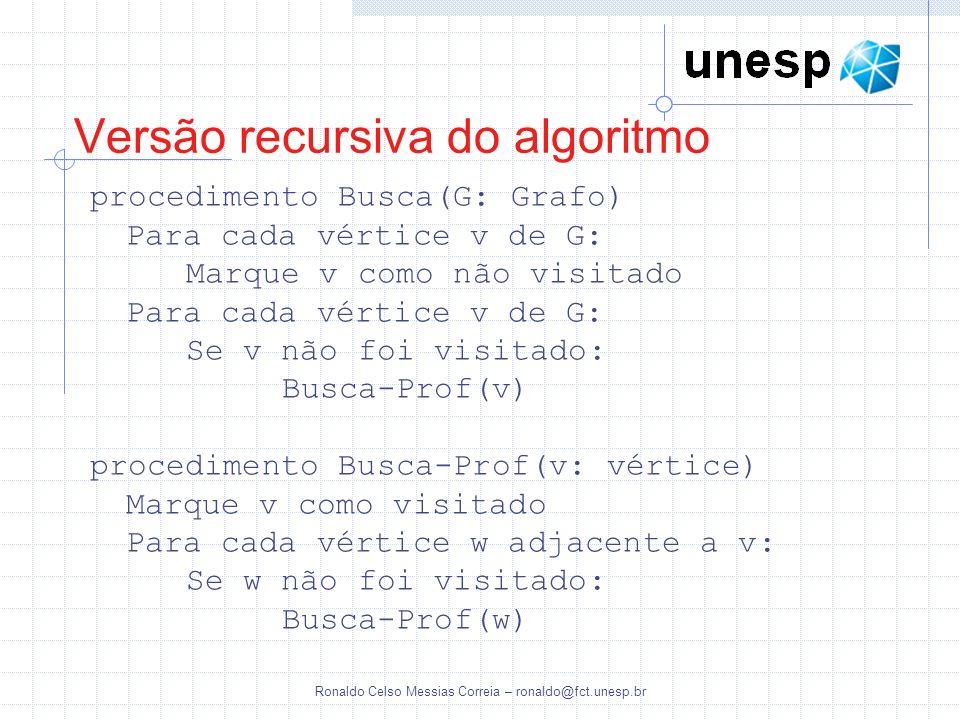 Ronaldo Celso Messias Correia – ronaldo@fct.unesp.br Versão recursiva do algoritmo procedimento Busca(G: Grafo) Para cada vértice v de G: Marque v com