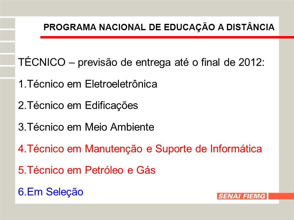 PROGRAMA NACIONAL DE EDUCAÇÃO A DISTÂNCIA TÉCNICO – previsão de entrega até o final de 2012: 1.Técnico em Eletroeletrônica 2.Técnico em Edificações 3.