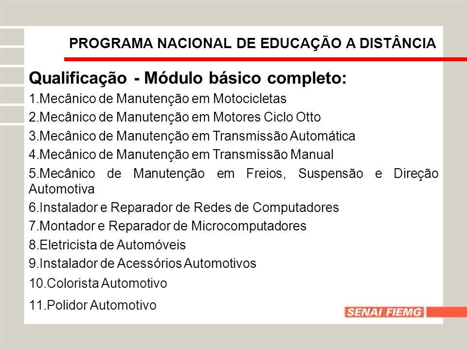 PROGRAMA NACIONAL DE EDUCAÇÃO A DISTÂNCIA Qualificação - Módulo básico completo: 1.Mecânico de Manutenção em Motocicletas 2.Mecânico de Manutenção em