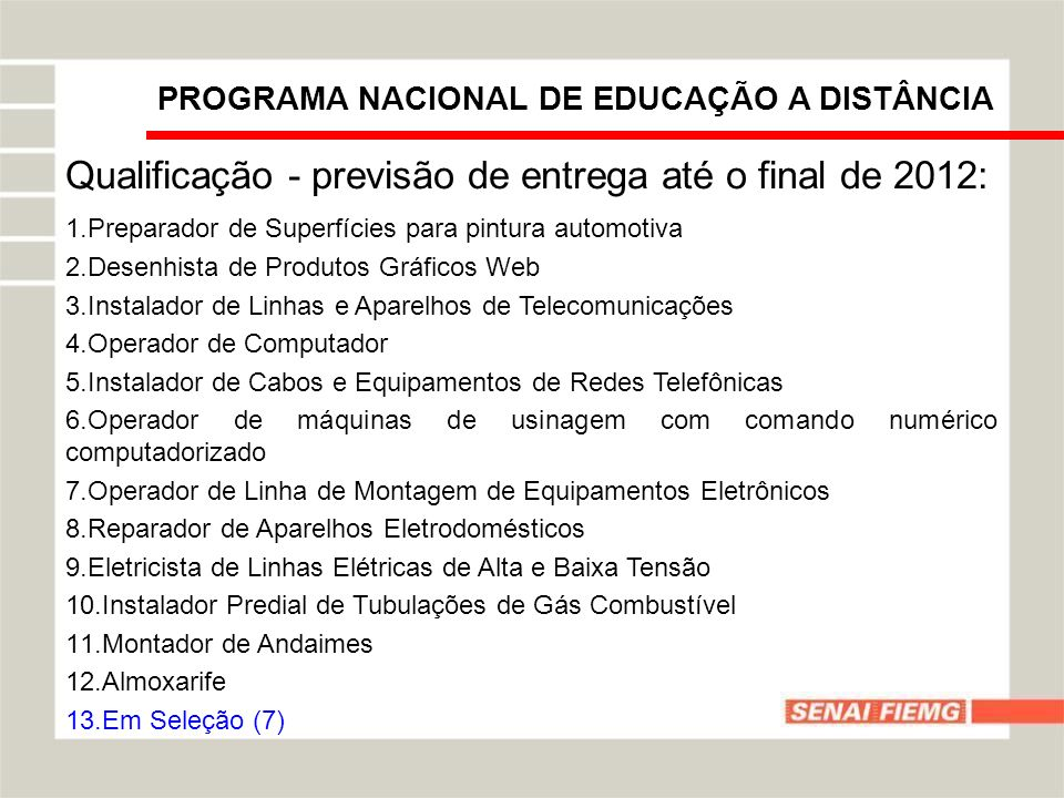 PROGRAMA NACIONAL DE EDUCAÇÃO A DISTÂNCIA Qualificação - previsão de entrega até o final de 2012: 1.Preparador de Superfícies para pintura automotiva