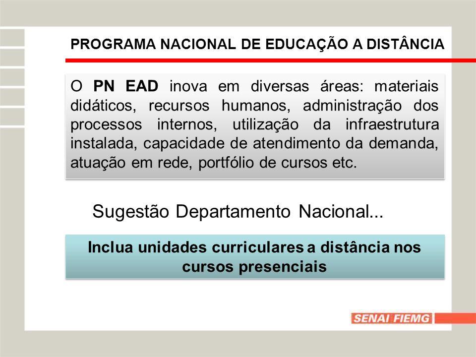 PROGRAMA NACIONAL DE EDUCAÇÃO A DISTÂNCIA O PN EAD inova em diversas áreas: materiais didáticos, recursos humanos, administração dos processos interno