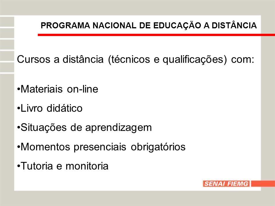Cursos a distância (técnicos e qualificações) com: Materiais on-line Livro didático Situações de aprendizagem Momentos presenciais obrigatórios Tutori