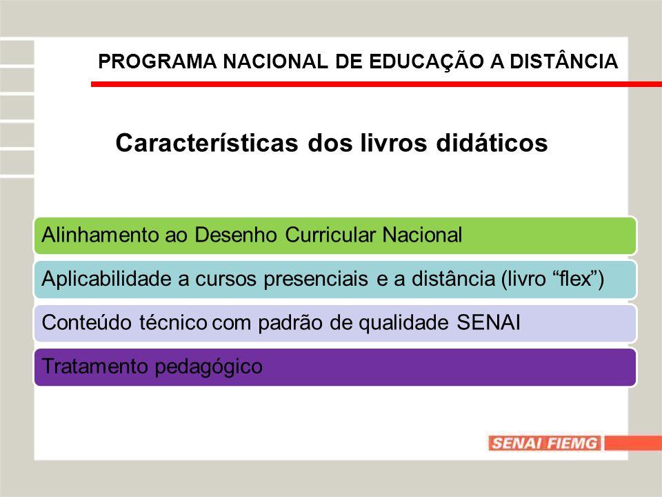 Características dos livros didáticos Alinhamento ao Desenho Curricular NacionalAplicabilidade a cursos presenciais e a distância (livro flex)Conteúdo