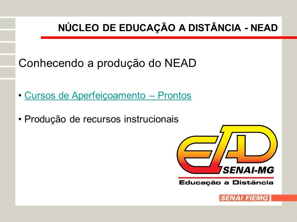 NÚCLEO DE EDUCAÇÃO A DISTÂNCIA - NEAD Conhecendo a produção do NEAD Cursos de Aperfeiçoamento – Prontos Produção de recursos instrucionais